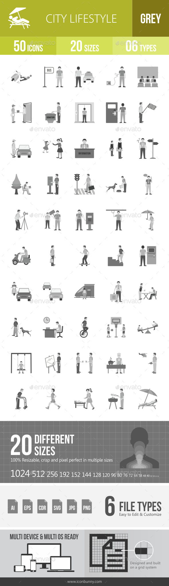 City Lifestyle Greyscale Icons - Icons