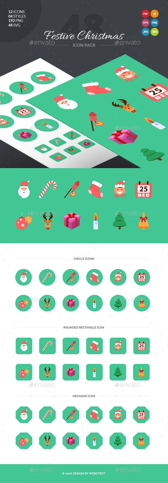 48 Festive Christmas Icon Pack - Seasonal Icons