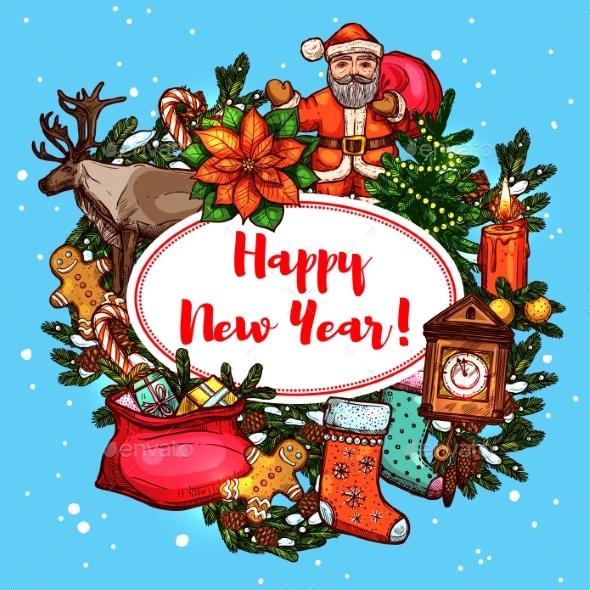 New Year Symbols Holiday Poster - New Year Seasons/Holidays