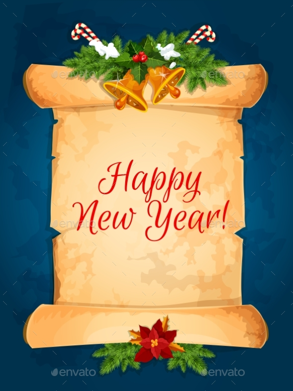 Happy New Year Wishes with Scroll - New Year Seasons/Holidays