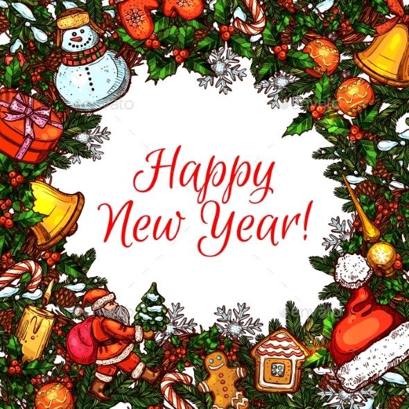 Frame with New Year Holiday Symbols - New Year Seasons/Holidays