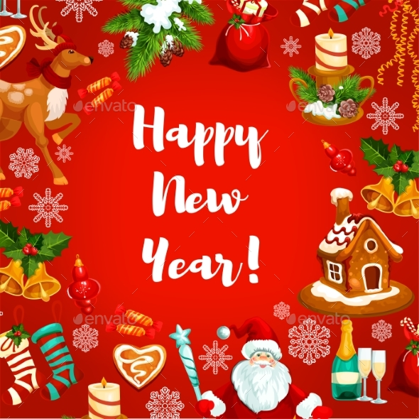 New Year Poster or Greeting Card Design - New Year Seasons/Holidays