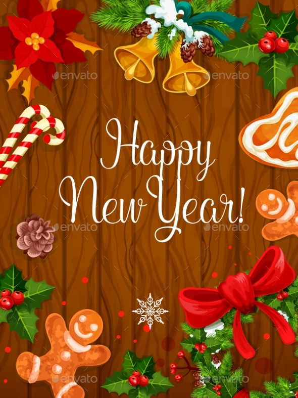 New Year Poster on Wooden Background - New Year Seasons/Holidays