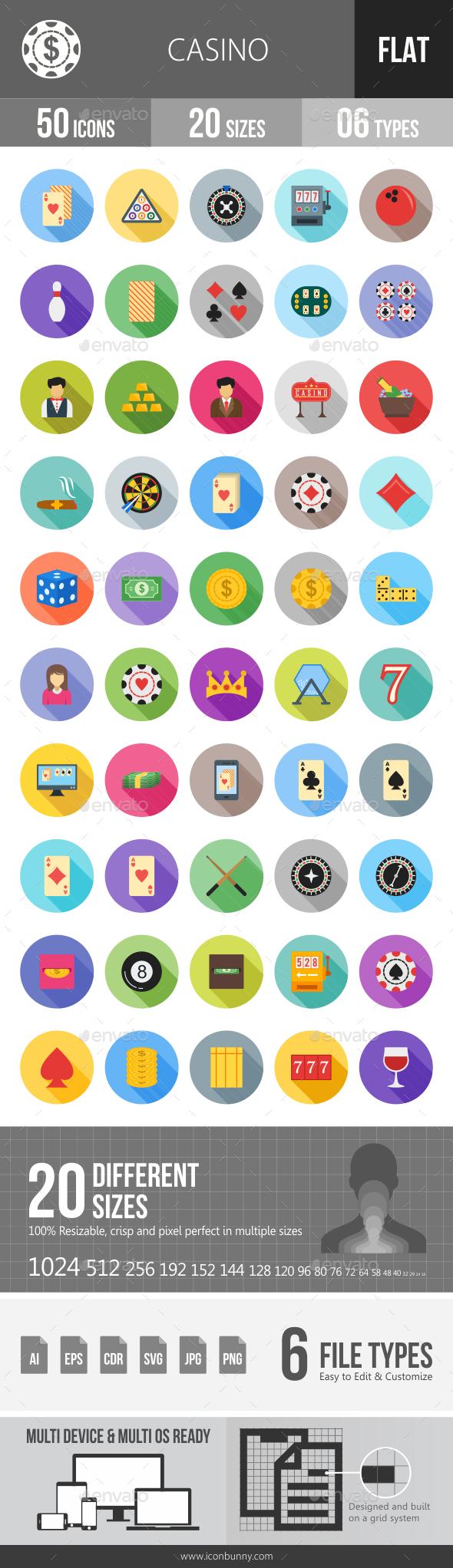 Casino Flat Shadowed Icons - Icons