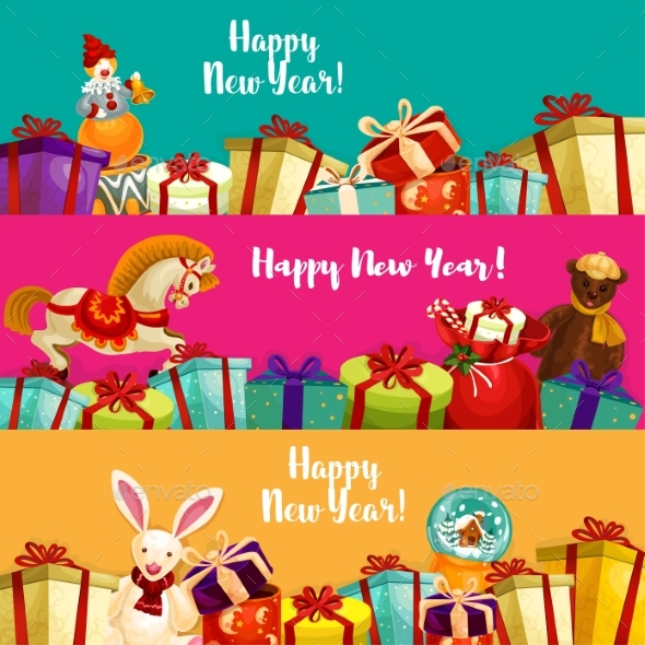 Holiday Gifts and Toys Banners Set - New Year Seasons/Holidays