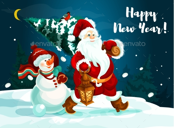 Santa and Snowman with Pine Tree and Gifts - New Year Seasons/Holidays
