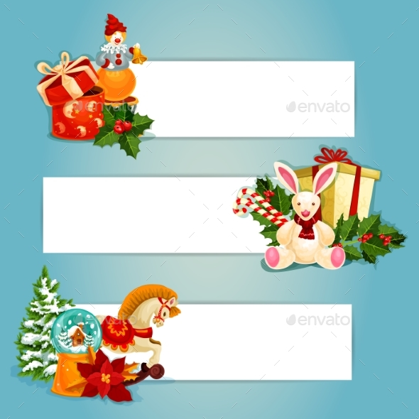Holiday Toys Banners Set Design - New Year Seasons/Holidays
