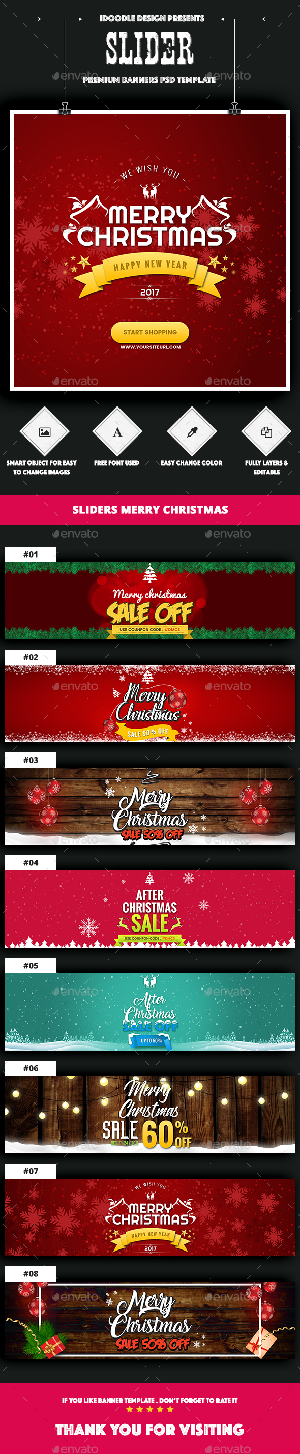 Sliders Header Christmas - 08 PSD - Sliders & Features Web Elements