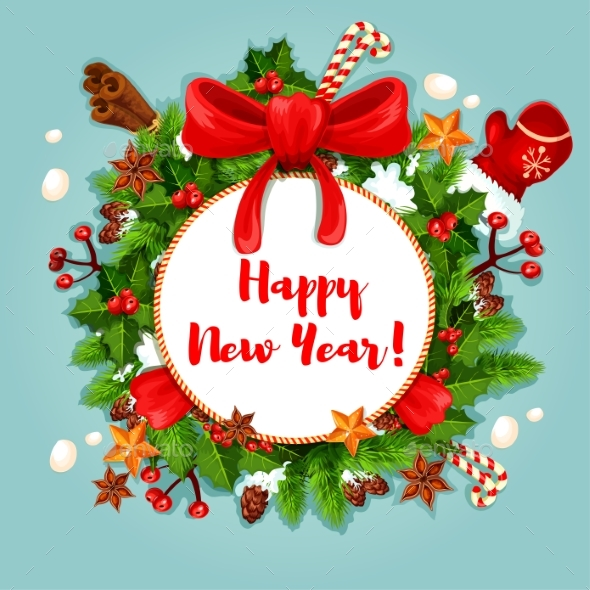 New Year Poster with Wreath and Decorations - New Year Seasons/Holidays