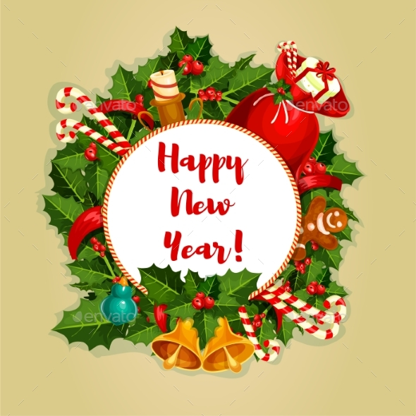 New Year Round Poster with Decorations - New Year Seasons/Holidays