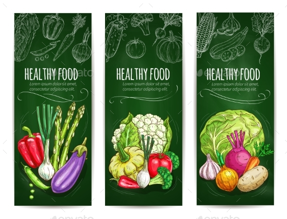 Vegetables Sketch on Banners Healthy Food - Food Objects
