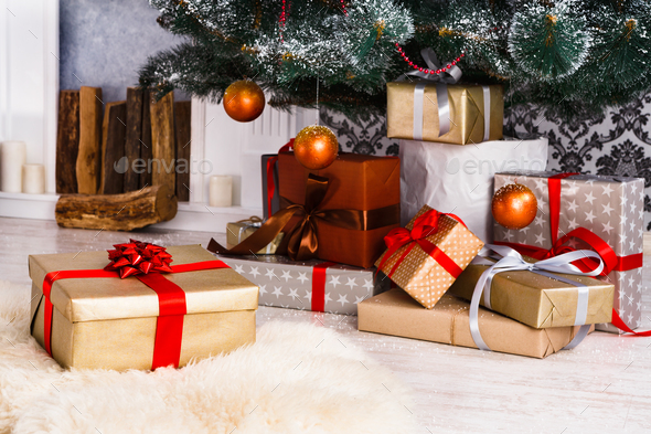 Christmas Presents Under Fir Tree Holiday Concept Stock Photo By
