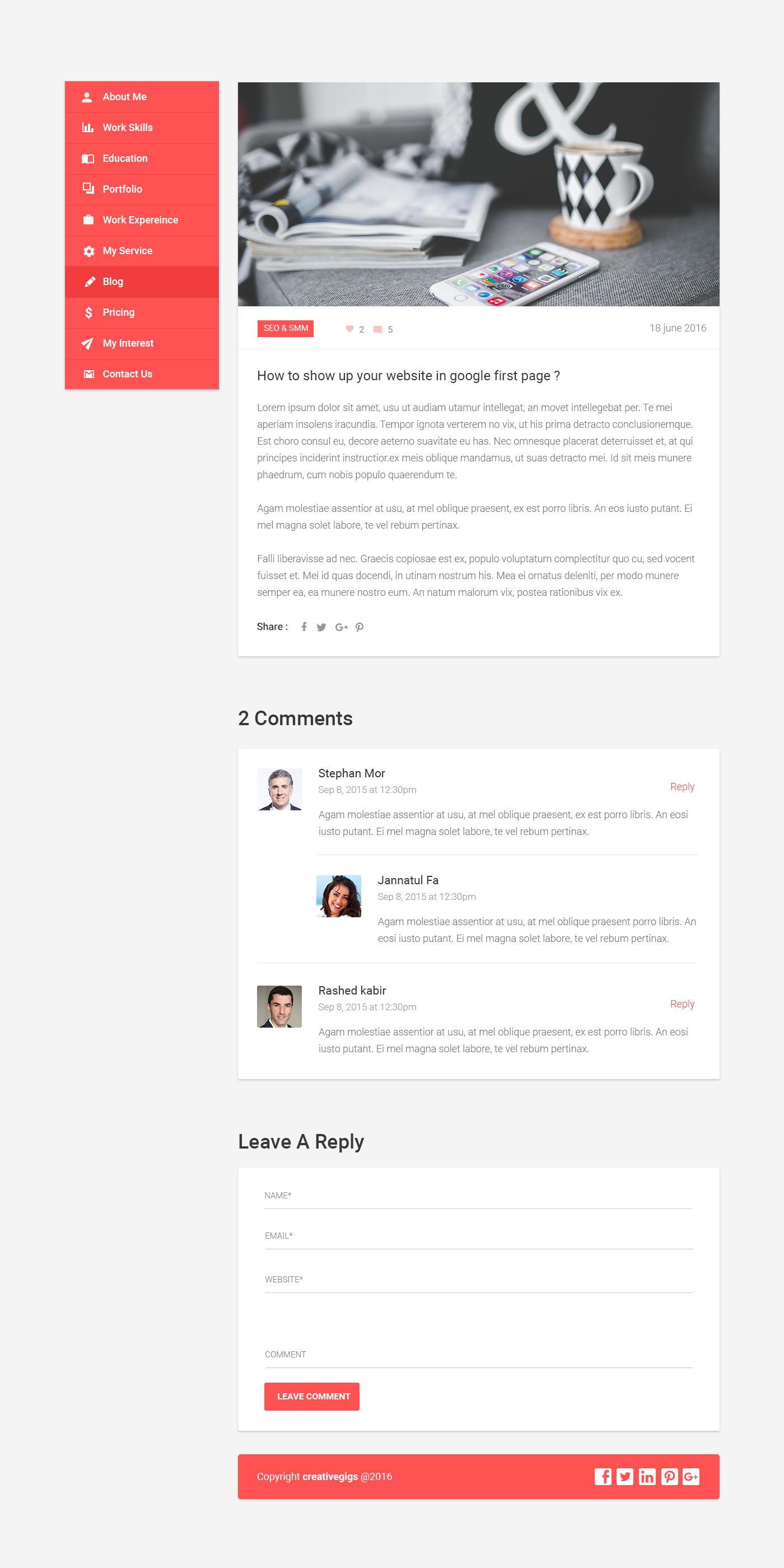 intro material cv portfolio resume psd template by creativegigs