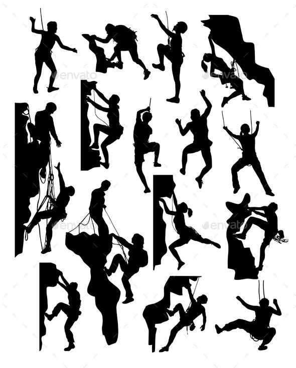 Rock Climber Silhouettes - Sports/Activity Conceptual