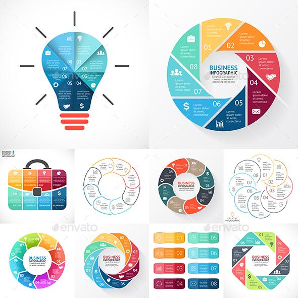 8 Steps Infographics. PSD, EPS, AI. - Infographics