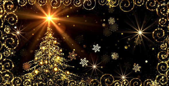 Black and gold christmas tree background by as100 videohive play preview video voltagebd Choice Image