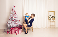 mother and baby little son playing home on Christmas holidays - PhotoDune Item for Sale