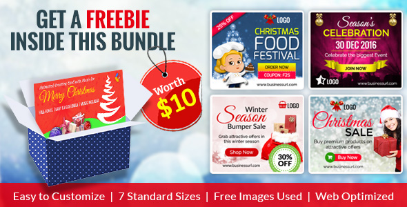 GWD | Merry Christmas HTML5 Ad Banner Bundle - With Attractive Freebie - CodeCanyon Item for Sale