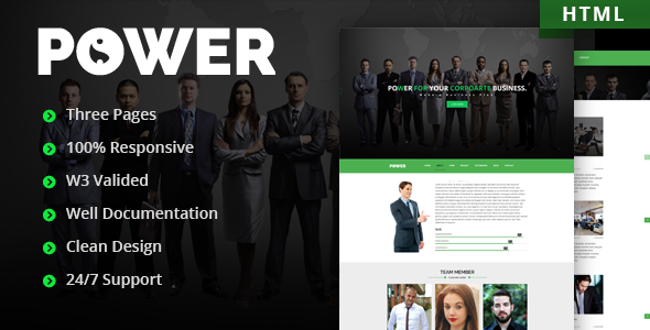 Power | One Page Corporate Responsive Template - Corporate Site Templates