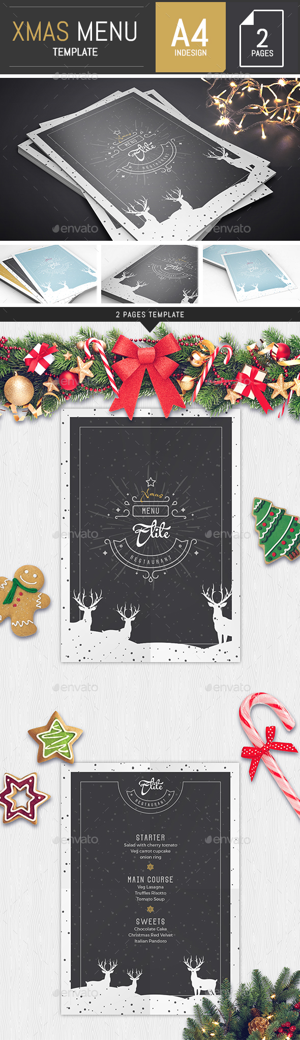A4 Modern Christmas Menu Template - Food Menus Print Templates