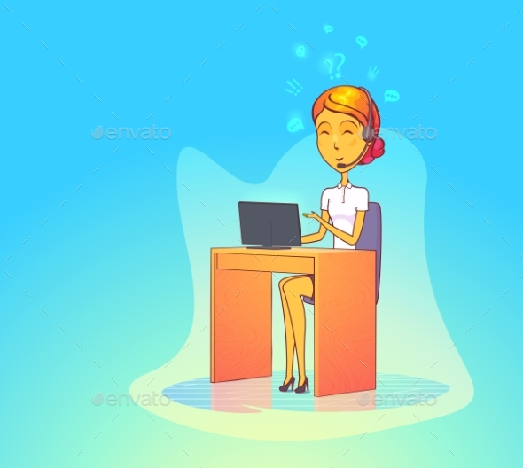 Woman Operator with Headset at Call Center - Concepts Business