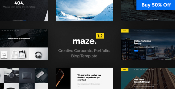 Maze Agency – One Page Agency, Portfolio, Blog PSD Template