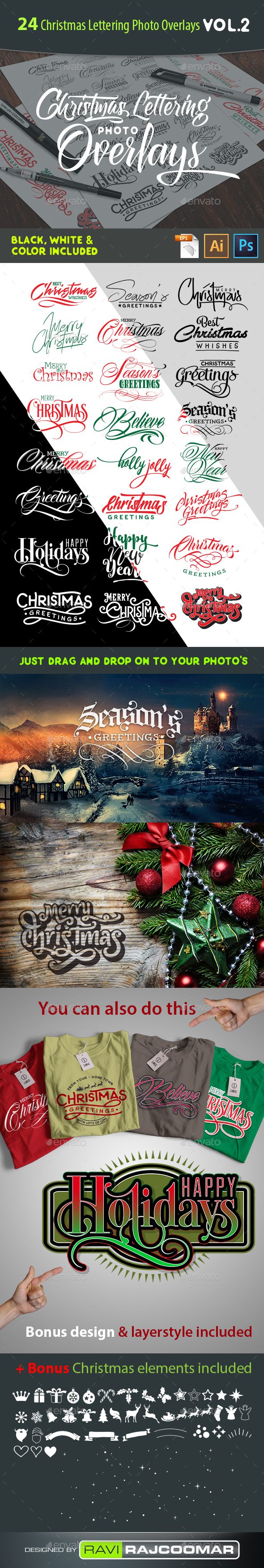 24 Christmas Photo Overlays Vol.2 - Badges & Stickers Web Elements