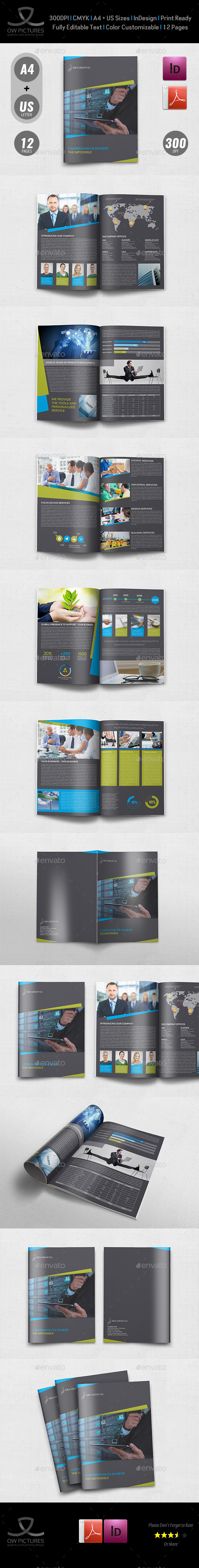 Corporate Brochure Template Vol.43 -12 Pages - Brochures Print Templates