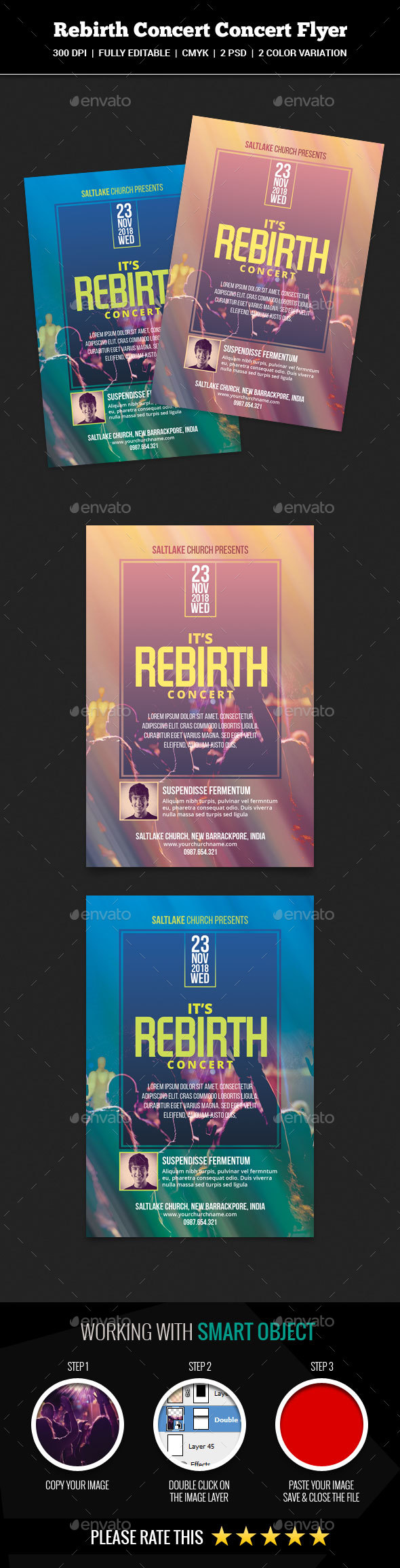 Rebirth Concert Flyer Template - Church Flyers
