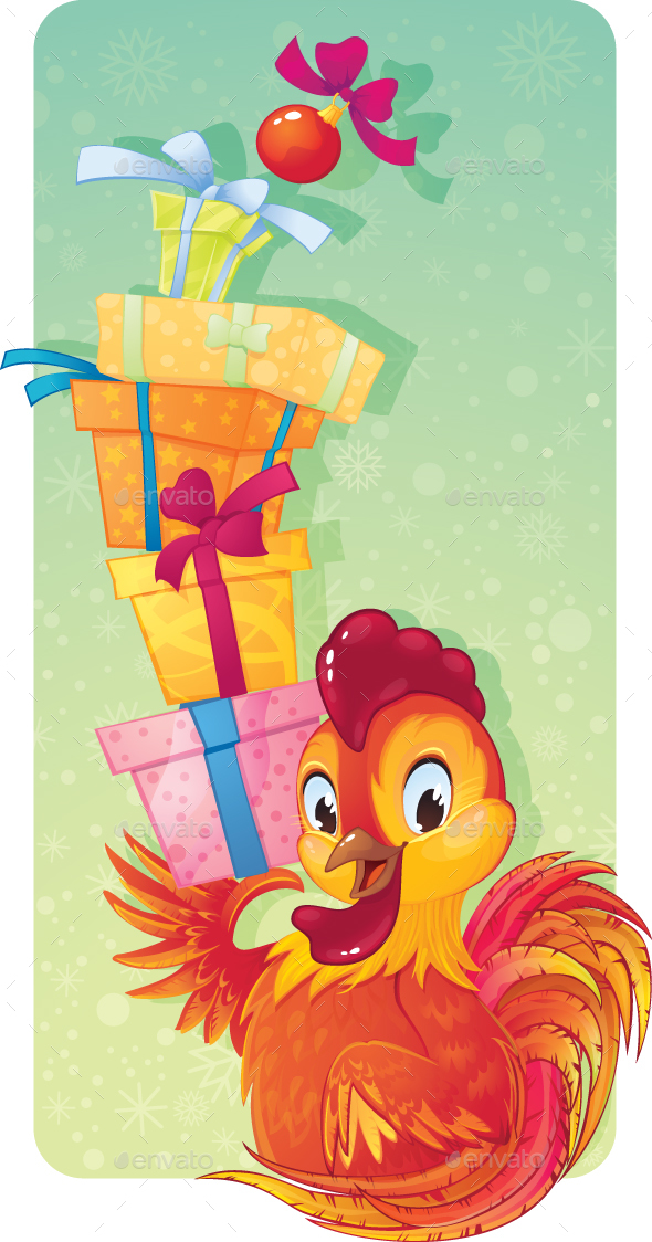 Symbol Of Chinese Horoscope Fire Rooster With Gift Boxes By Solaie