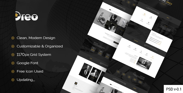 Oreo - Creative Landing Page PSD Template - Creative PSD Templates