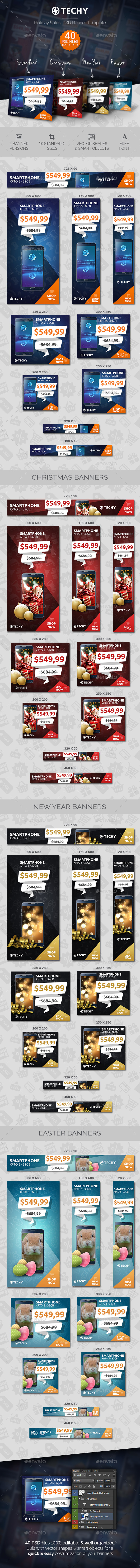 Techy - Holiday Sales PSD Banner Template - Banners & Ads Web Elements