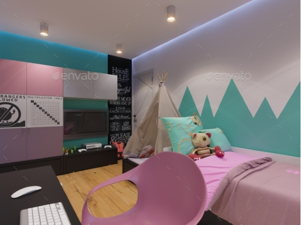 3D Render of Interior Design Children's Room - 3D Backgrounds