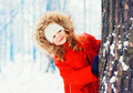 Winter portrait happy smiling little child playing near tree ove - PhotoDune Item for Sale
