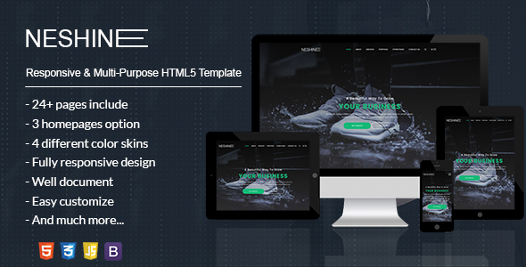 NESHINE - Responsive, Multi-Purpose & eCommerce HTML5 Template - Business Corporate
