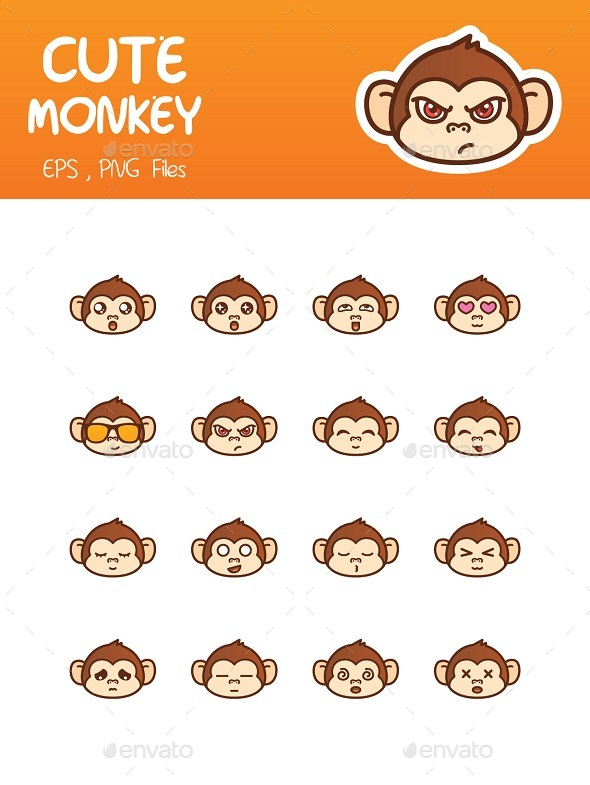 Cute Monkey Emoticon - Animals Characters