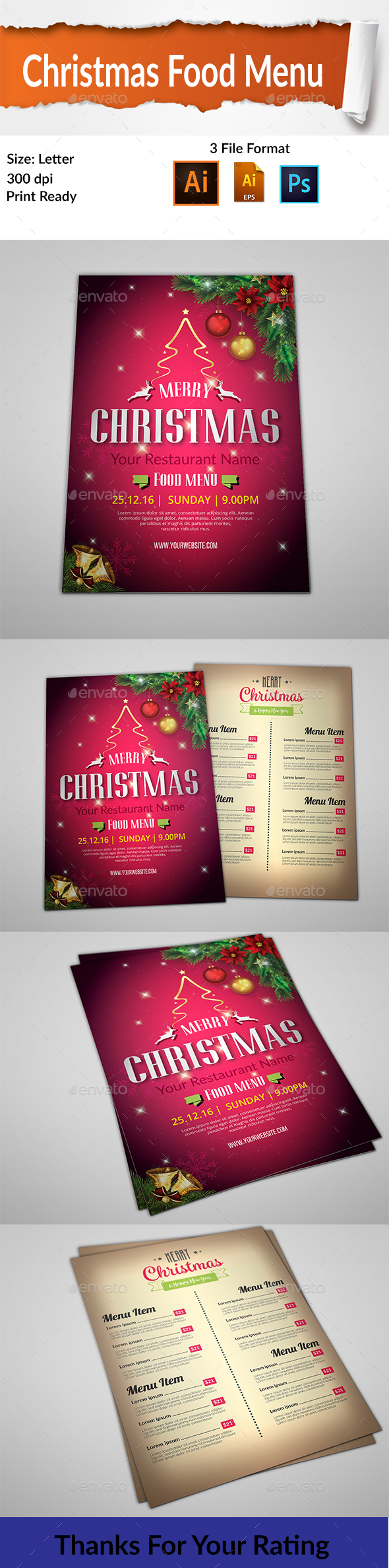 Christmas Food Menu - Food Menus Print Templates