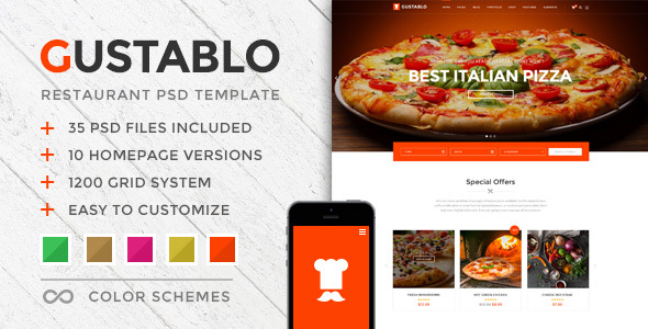 Gustablo - Restaurant PSD Template - Restaurants & Cafes Entertainment