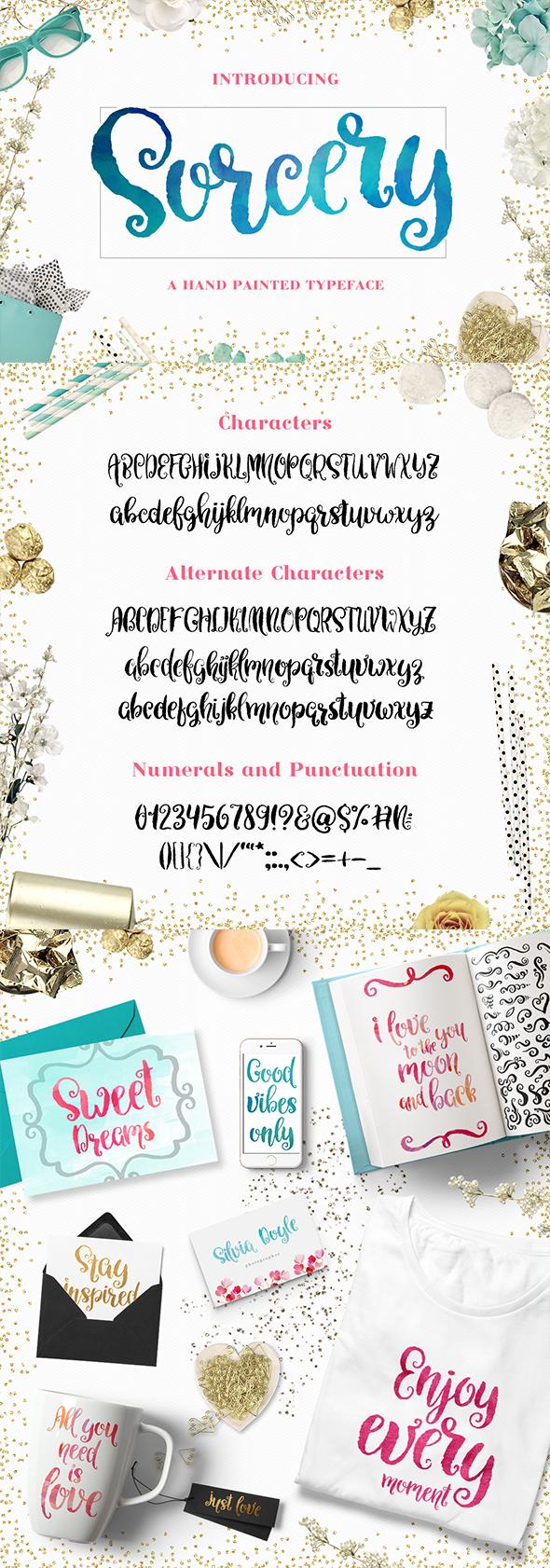 Sorcery Typeface - Brush Script - Hand-writing Script