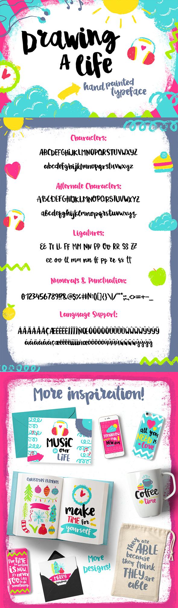 Drawing a Life - Brush Font - Hand-writing Script