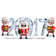 3D Illustration Three Santa Claus and Ice Figures Nulled