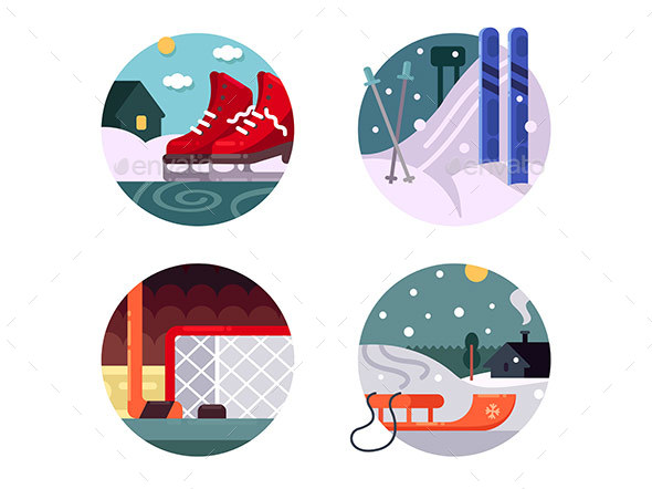 Winter Sports Icons Set - Sports/Activity Conceptual