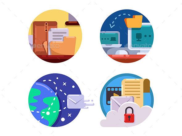 Documentation and Document Management Set Icons - Web Elements Vectors
