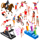 Sport Isometric Olympic Sportsmen Set Vector Illustration - GraphicRiver Item for Sale