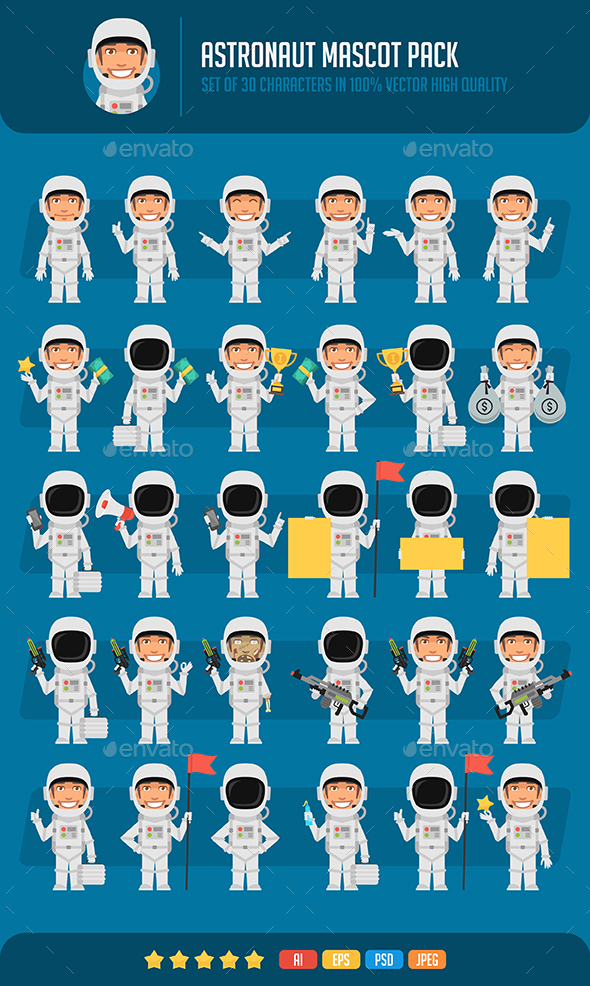 Astronaut Mascot Pack - People Characters