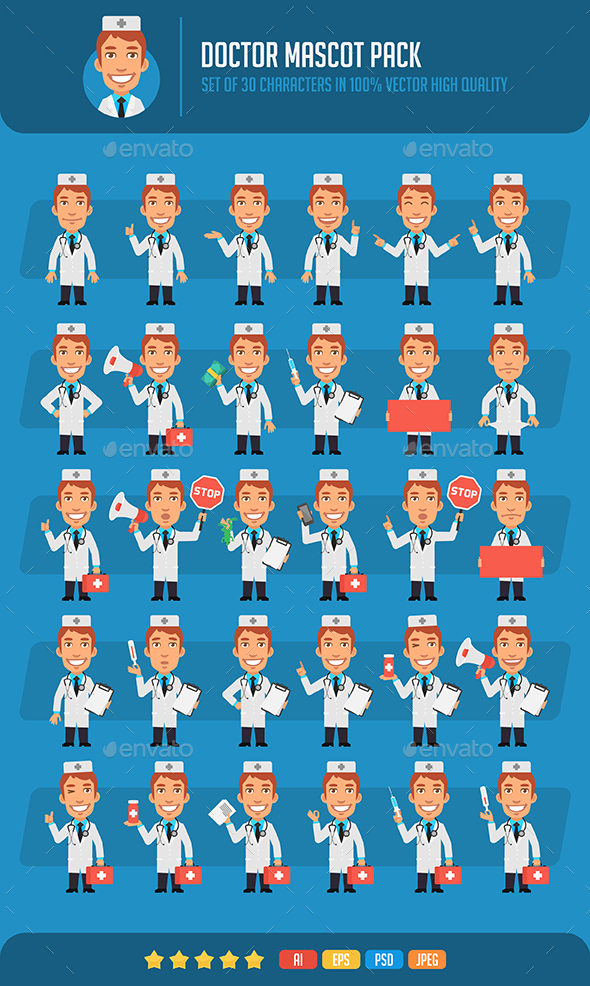 Doctor Mascot Pack - People Characters