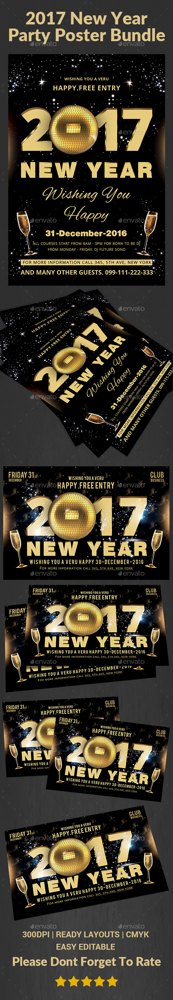New Year Party Flyer Bundle - Events Flyers
