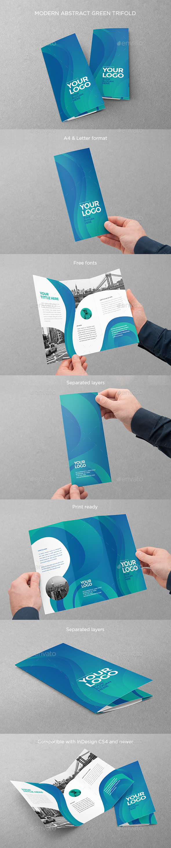 Modern Abstract Green Trifold - Brochures Print Templates