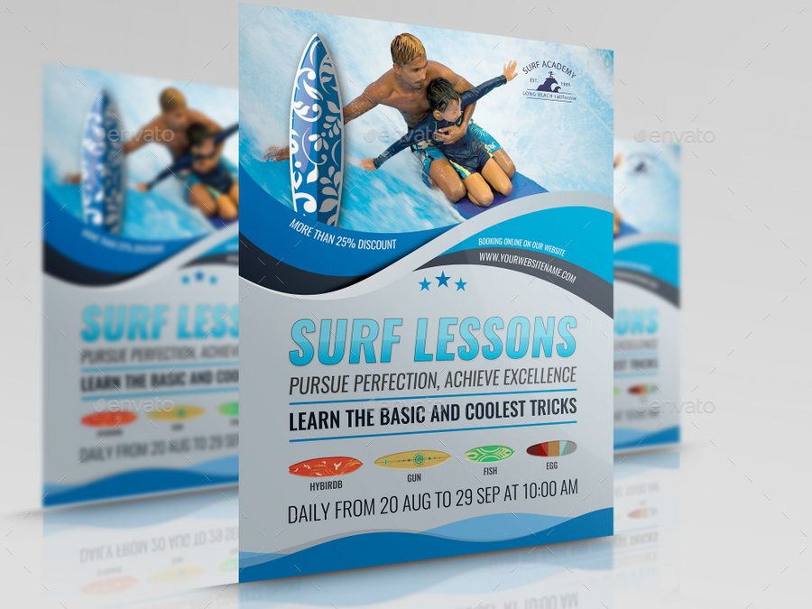Surf Training Flyer Template By Owpictures Graphicriver