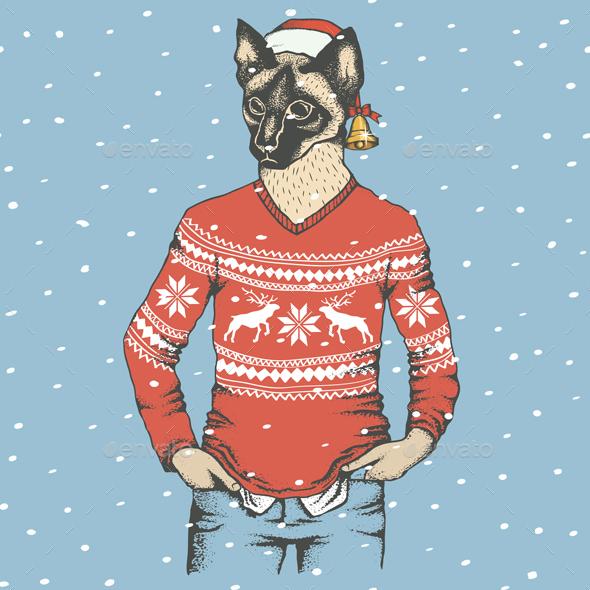 Cat Illustration - Christmas Seasons/Holidays
